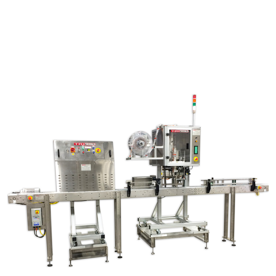 Tripack Craft Beer Shrink Labeling System with LSA-160 Applicator and HT1 Heat Tunnel