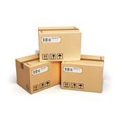 Pressure Sensitive Labels on Shipping Boxes